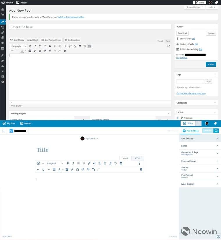 WordPress.com giới thiệu loạt thiết kế mới ở trình soạn thảo