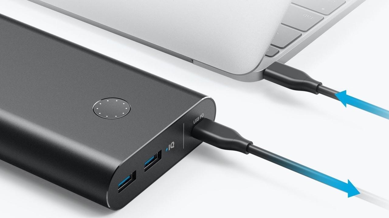 Pin dự phòng Anker PowerCore+ 26800 phiên bản mới được trang bị cổng USB-C với công nghệ Power Delivery, có thể sạc laptop, máy chơi game hoặc bất kể thiết bị nào dùng cổng USB-C.