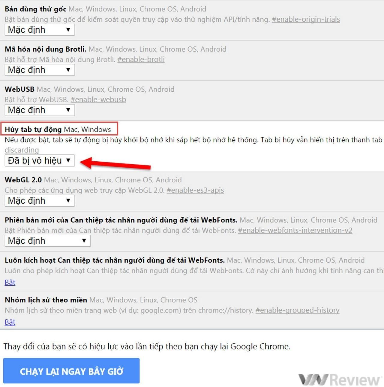 Tắt tính năng tự động tải lại tab trên Google Chrome
