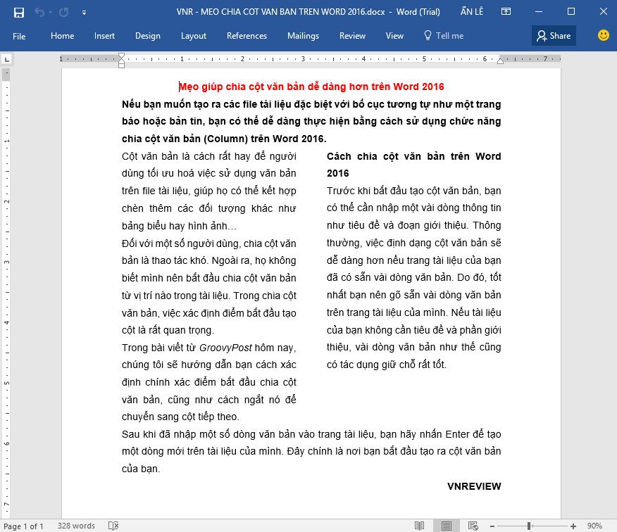 Chia cột văn bản dễ dàng hơn trong Microsoft Word 2016
