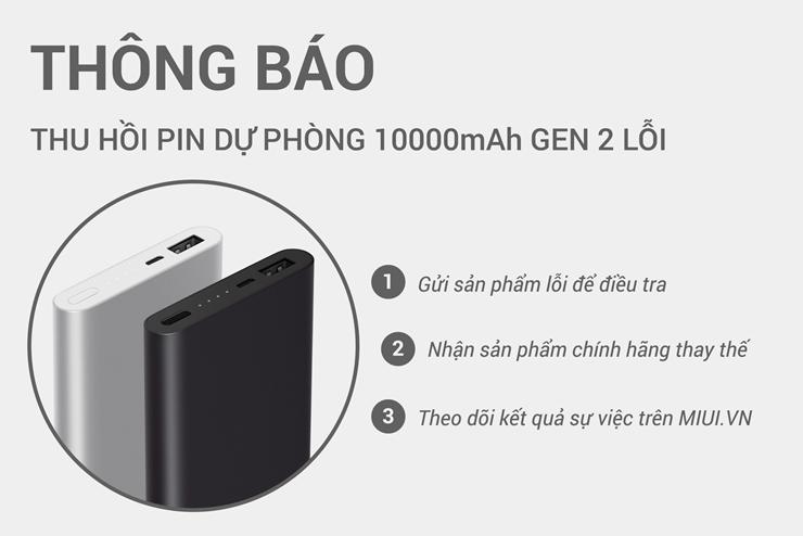 Thu hồi pin dự phòng Xiaomi Gen 2 gây cháy IC sạc của smartphone