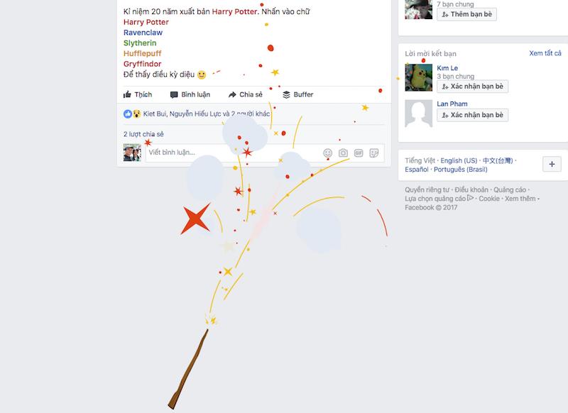 Kỷ niệm 20 năm phát hành Harry Potter, Facebook âm thầm tung hiệu ứng mới