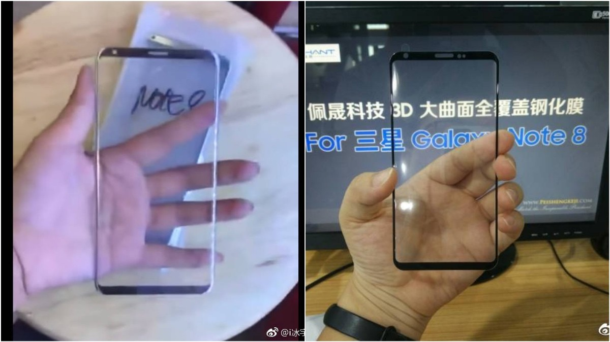 Galaxy Note 8 lộ ảnh mặt kính trước, giống Galaxy S8 kéo dài ra