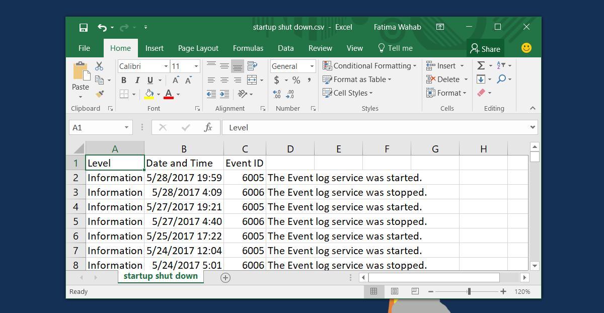 Cách làm nhật ký ghi lại giờ bật tắt máy tính Windows