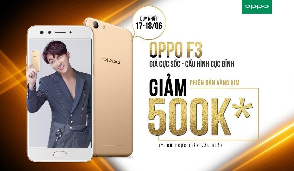 OPPO F3 giảm 500.000 đồng hai ngày cuối tuần