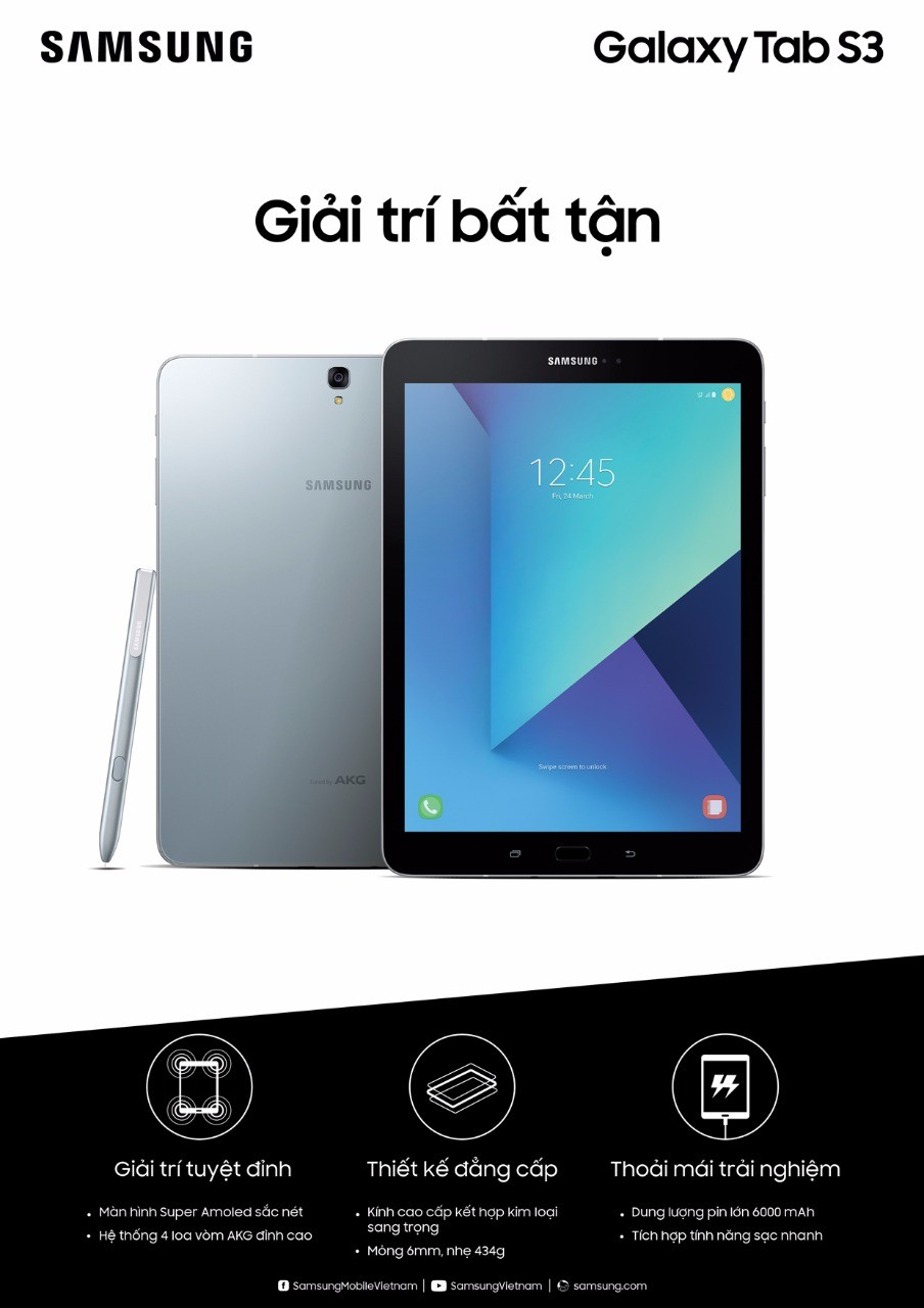 Samsung giới thiệu Galaxy Book và Galaxy Tab S3, giá 19,99 và 16,49 triệu đồng