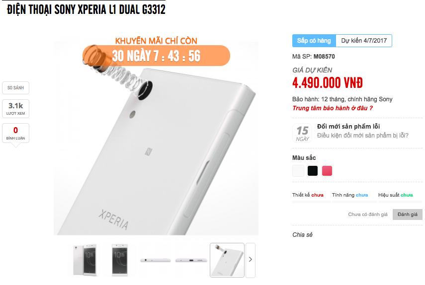 Sony Xperia L1 dự kiến lên kệ ngày 4/7 với giá 4,5 triệu đồng