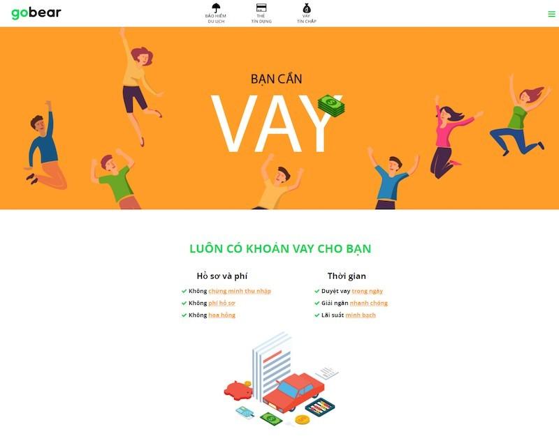 GoBear Việt Nam có chuyên trang tìm kiếm vay tín chấp