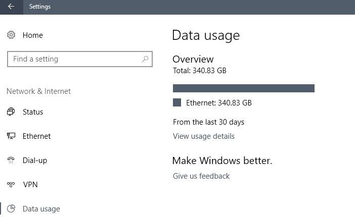 Cách Reset bộ đo lưu lượng mạng của Windows 10