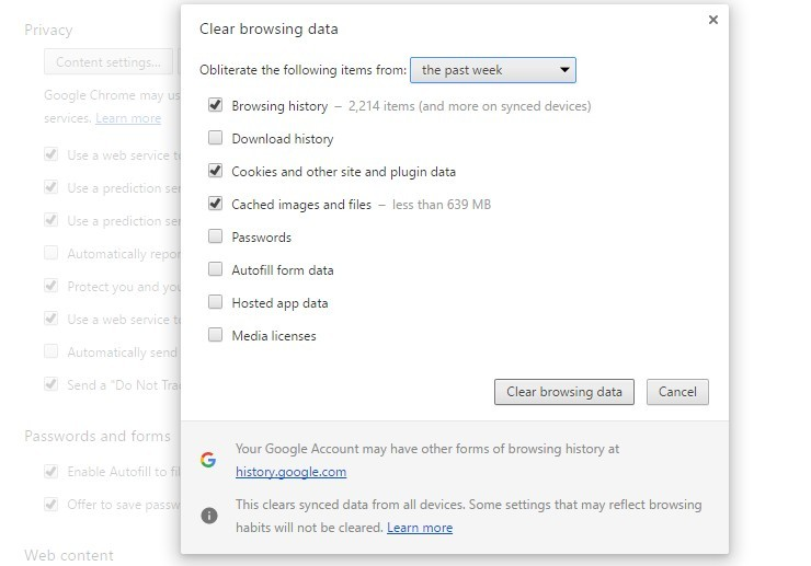 Cách xóa lịch sử nội dung trên trình duyệt Web