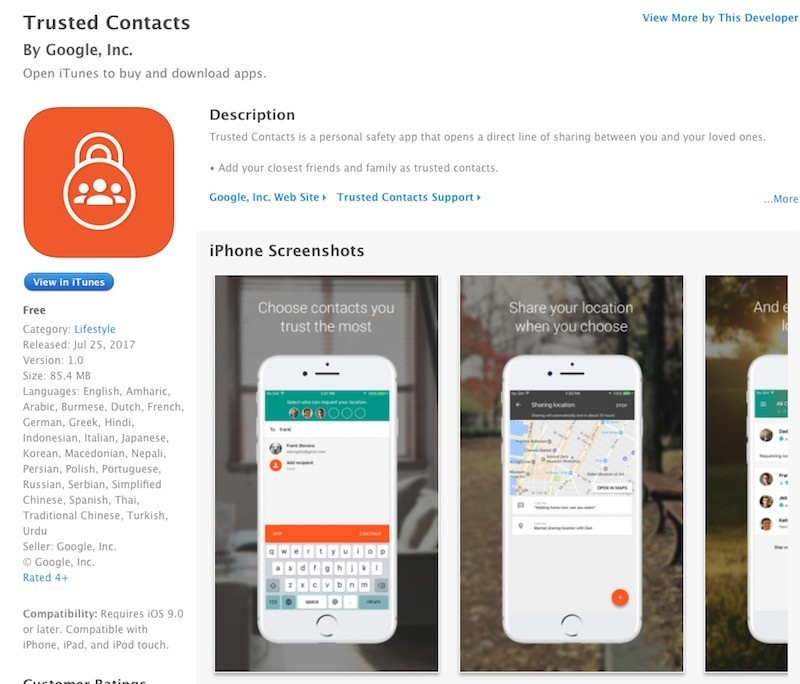 Google đưa ứng dụng cảnh báo khẩn cấp Trusted Contacts lên iOS