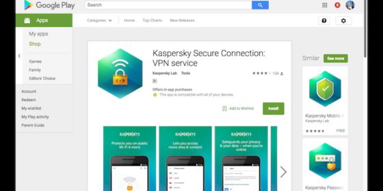Kaspersky tung ứng dụng VPN cho Android, mỗi ngày được 200MB lưu lượng