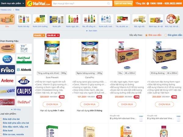 VuiVui.com của Thế Giới Di Động bắt tay Vinamilk bán sữa online
