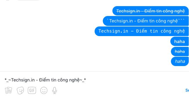 Facebook Messenger hỗ trợ văn bản in đậm, gạch ngang, in nghiêng