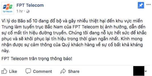 Mạng Internet trong nước 'đứt' vì bão số 10