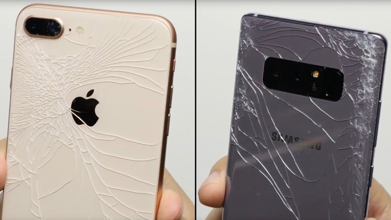 Thử độ bền iPhone 8 và Samsung Galaxy Note8