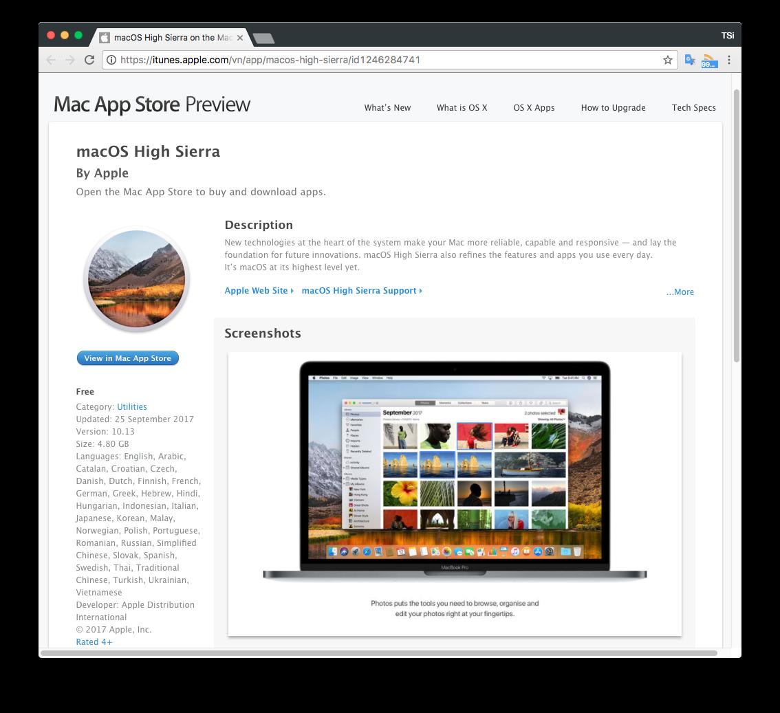 macOS High Sierra chính thức được phân phối qua Mac App Store