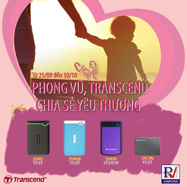 Transcend hợp tác cùng Phong Vũ chiết khấu cho chương trình từ thiện