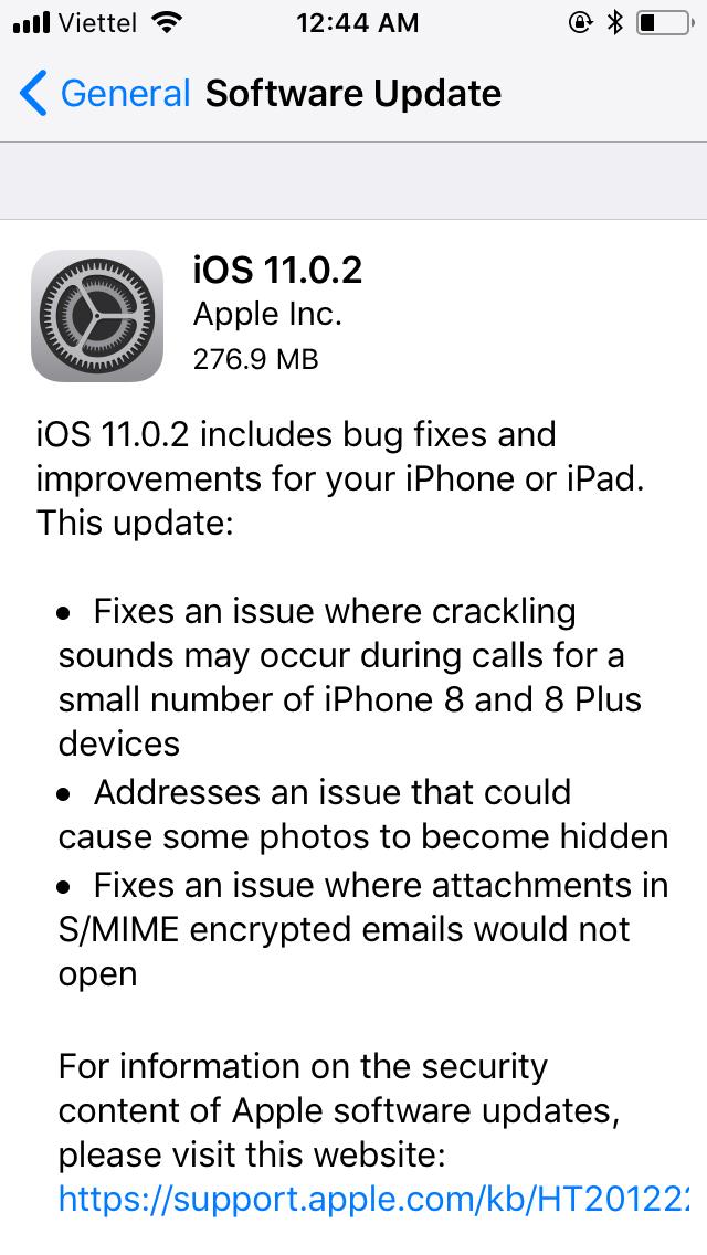 Apple lại tiếp tục tung cập nhật iOS 11.0.2, sửa lỗi tiếng gãy khi gọi điện trên iPhone 8 và 8 plus