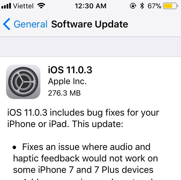 Apple vừa tung bản cập nhật iOS 11.0.3, sửa lỗi phản hồi xúc giác và cảm ứng trên màn hình