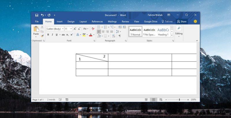 Cách chia chéo một ô trong MS Word