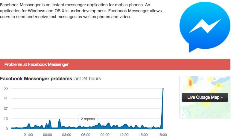 Dịch vụ Facebook Messenger đang gặp sự cố tại Việt Nam?