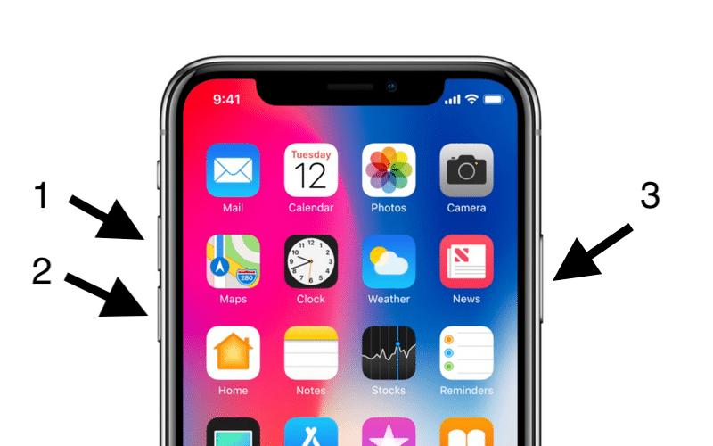 Hard Reboot iPhone X nhanh chóng với 3 phím