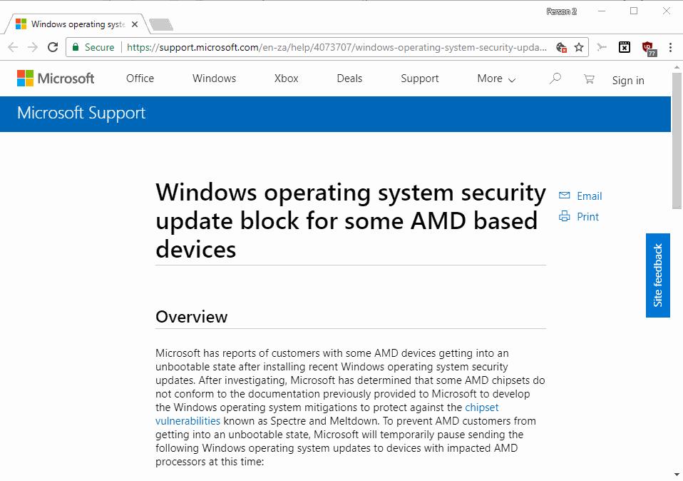 Microsoft ngừng cập nhật bảo mật cho một vài thiết bị AMD
