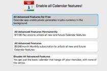 Ứng dụng Calendar 2 có tích hợp mã đào tiền mã hoá xuất hiện trên Mac App Store