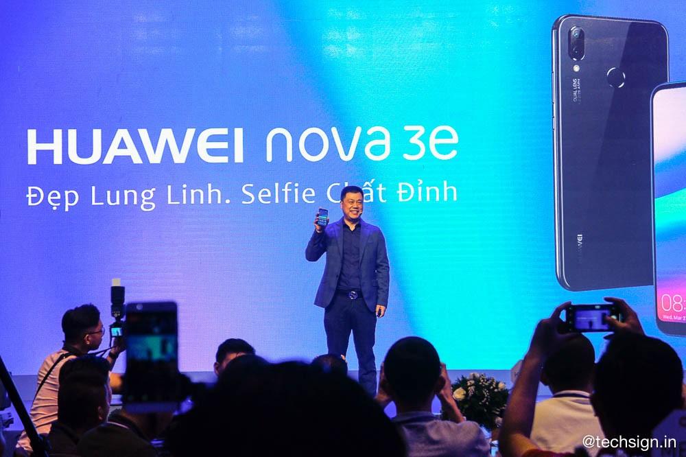 Huawei Nova 3e ra mắt: hai màu, thiết kế tai thỏ, tỉ lệ màn hình mới