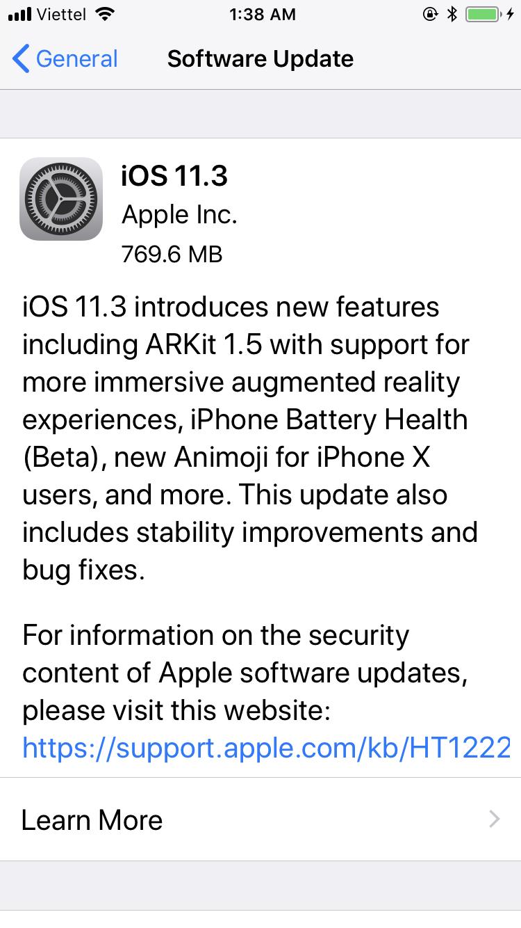 iOS 11.3 chính thức ra mắt, bạn có thể tải về từ bây giờ