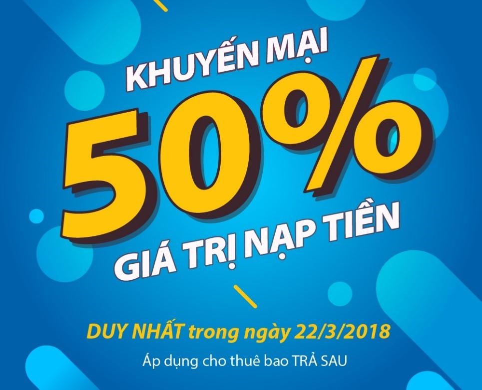 Ngày mai 22/3, MobiFone khuyến mãi 50% cho thuê bao trả sau