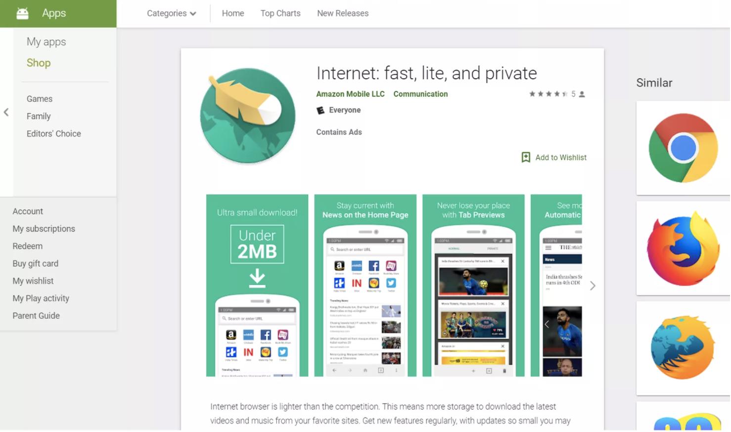 Amazon ra trình duyệt Internet tiết kiệm dung lượng