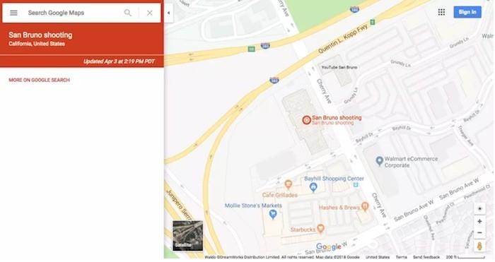 Google Maps đánh dấu tương tác lên trụ sở YouTube trên bản đồ
