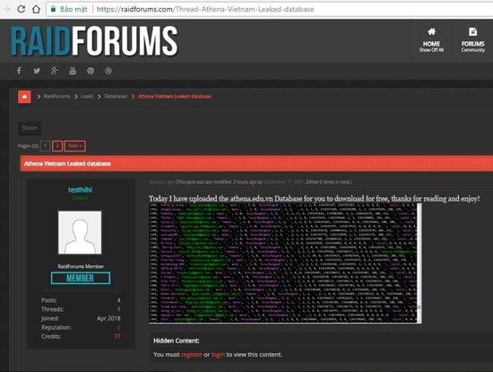 Sau VNG, đến lượt Trung tâm An ninh mạng Athena bị hack và chia sẻ dữ liệu lên diễn đàn Raidforums.com