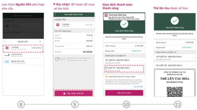Hướng dẫn mua vé tàu qua ví điện tử MoMo