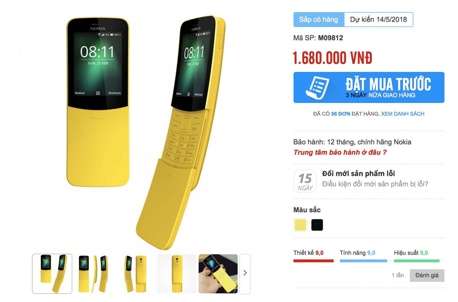 Nokia 8110 'trái chuối' giá 1,68 triệu đồng ở Việt Nam