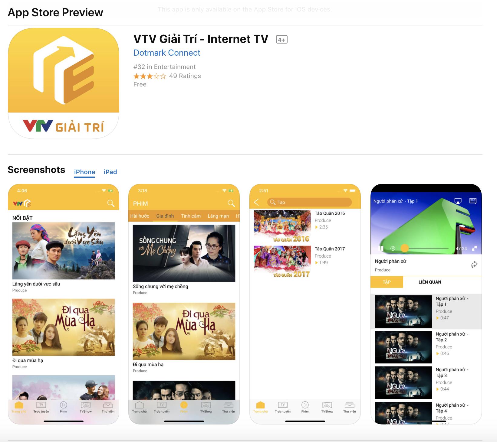 VTV cung cấp kho phim truyền hình và giải trí miễn phí trực tuyến