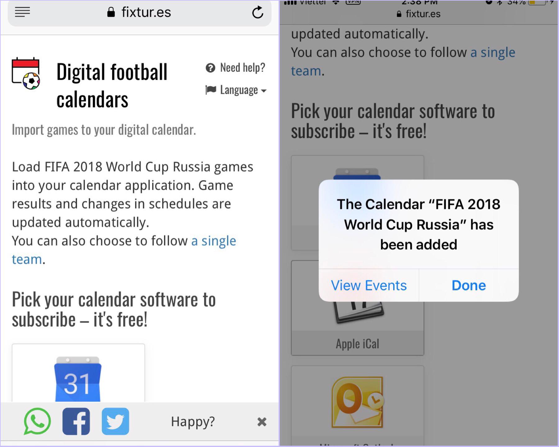 Đưa lịch thi đấu World Cup 2018 vào ứng dụng Calendar trên iPhone