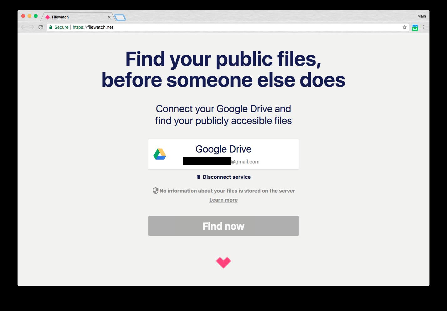 Dùng Filewatch tìm tập tin bạn đã chia sẻ công khai trên Google Drive