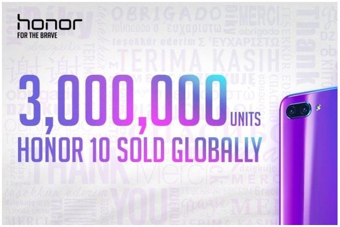 Doanh số Honor 10 đạt 3 triệu máy, tăng 150%