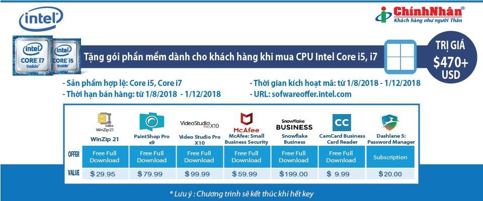 Chính Nhân khuyến mãi gói phần mềm khi mua CPU Intel