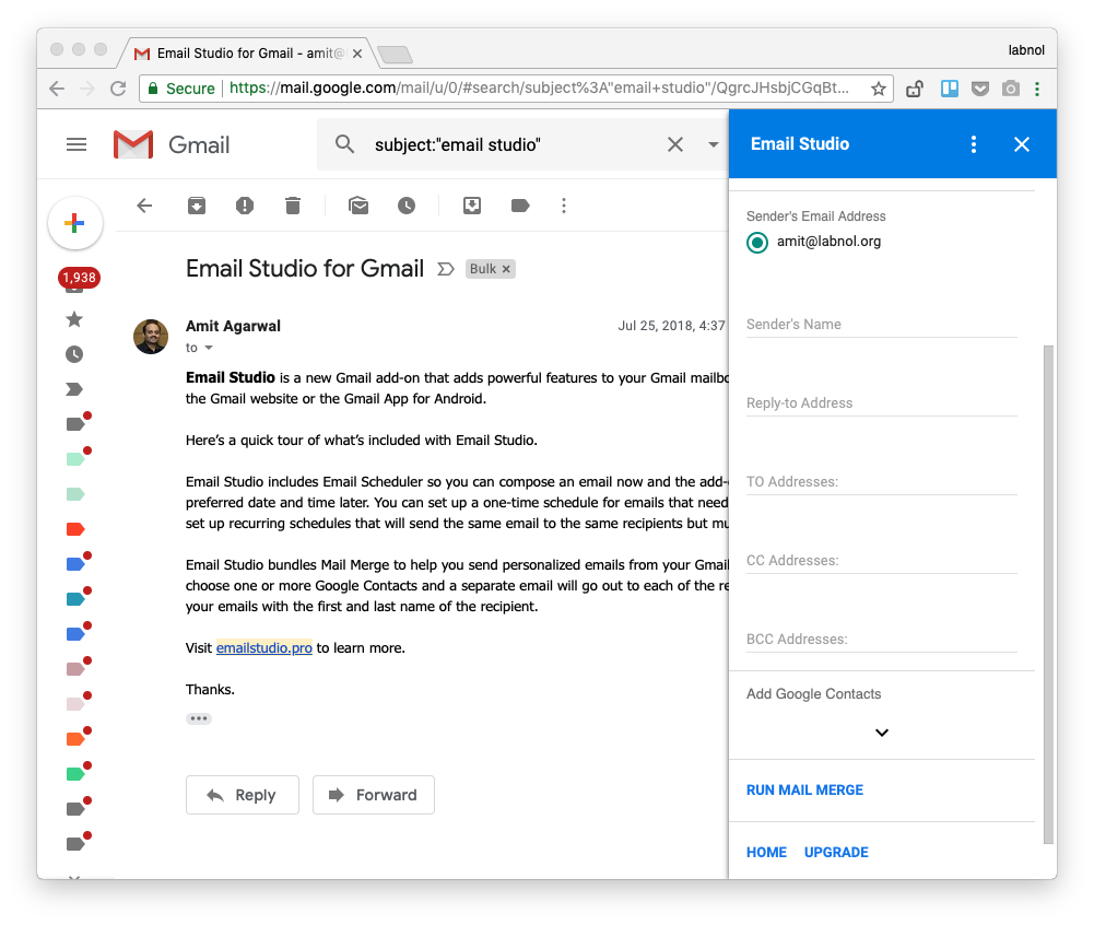 Chương trình bổ sung Email Studio dành cho Gmail được nâng cấp