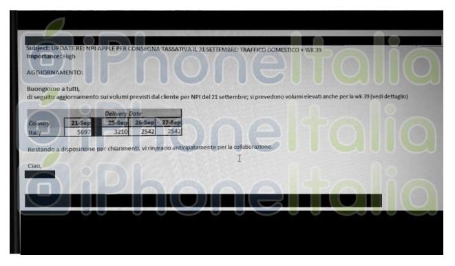 Đoạn tin nhắn tiết lộ bộ ba sản phẩm iPhone sẽ được phát hành vào ngày 21/9