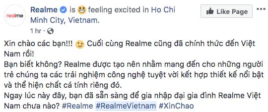 Realme xác nhận sẽ ra mắt tại thị trường Việt Nam