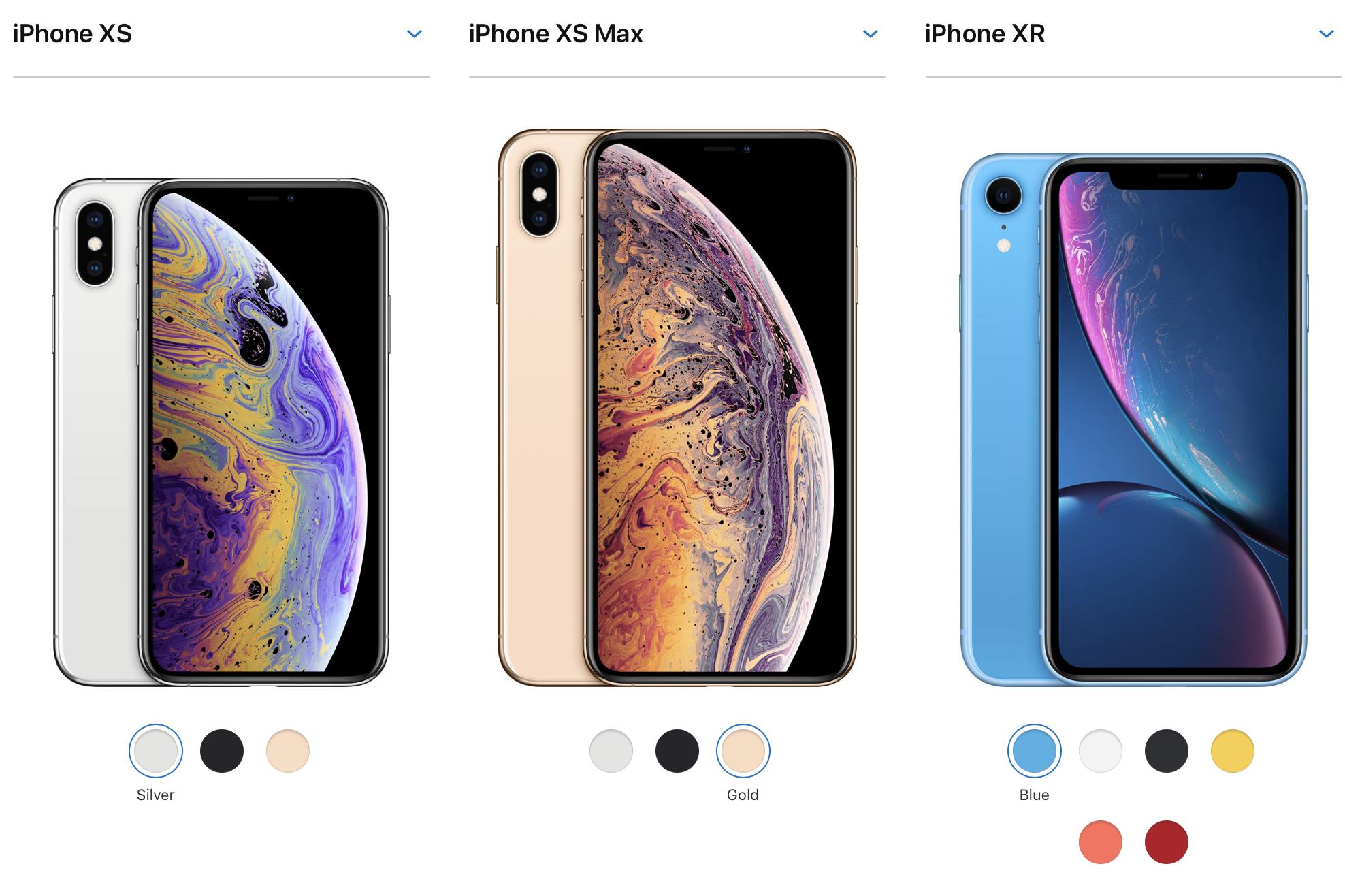 So sánh cấu hình của bộ ba iPhone Xs, Xs Max, Xr