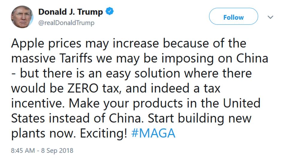 Tổng thống Trump chỉ Apple cách tránh thuế bằng cách về Mỹ sản xuất