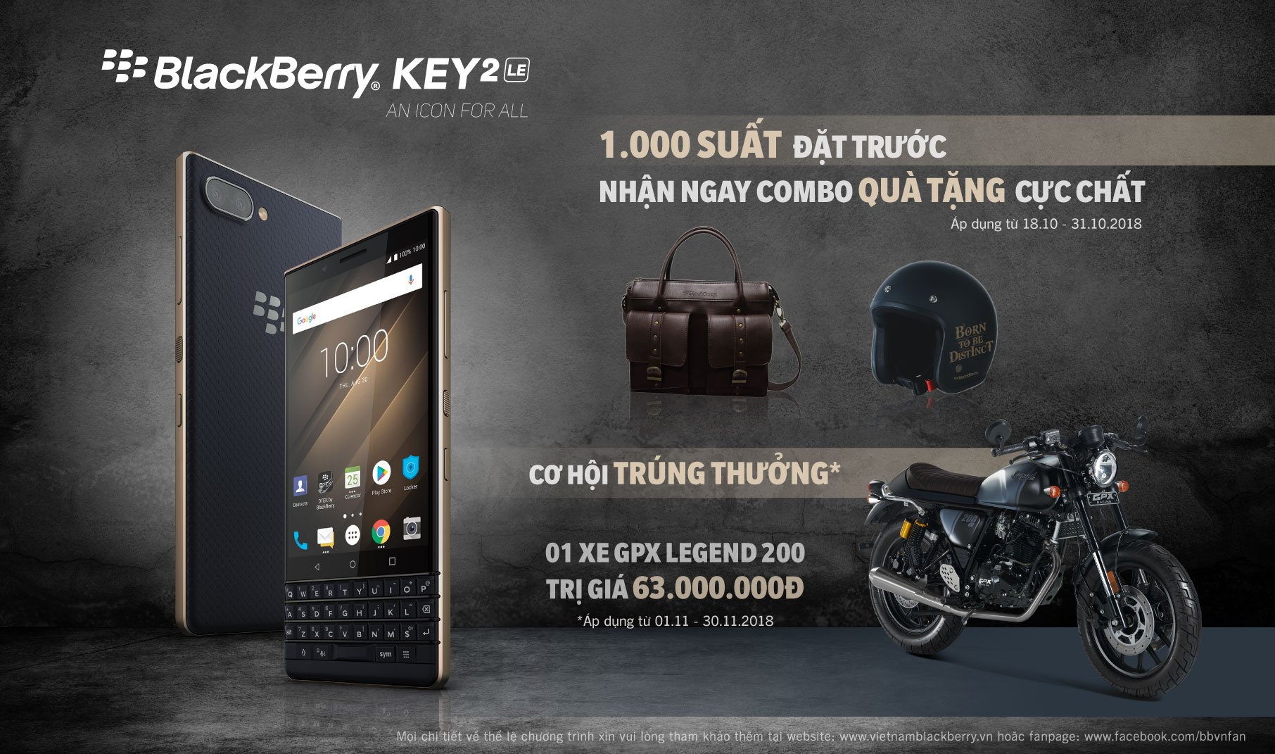 BlackBerry KEY2 LE bán ra từ 1/11, giá 11,8 triệu đồng