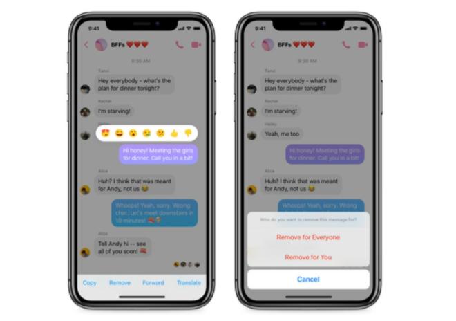 Facebook Messenger cho phép người dùng thu hồi tin nhắn đã gửi