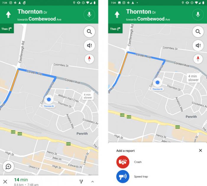 Google Maps thử nghiệm tính năng báo cáo tai nạn và điểm bắn tốc độ
